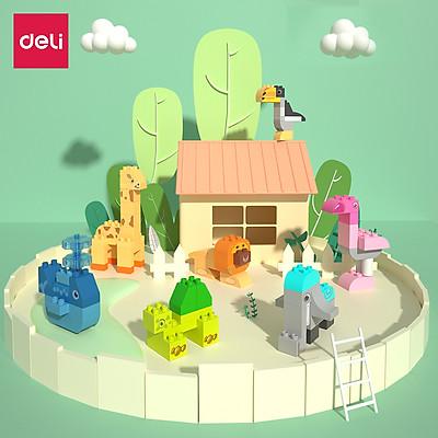 Đồ chơi xếp hình lắp ghép lego cầu trượt thả bi, vườn thú 102 chi tiết Deli  - Đồ chơi giáo dục giúp bé sáng tạo, phát triển tư duy trí tuệ thông minh nhận biết hình khối - Nhựa an toàn - 74543 / 74544