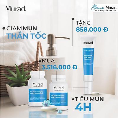 COMBO TIẾT KIỆM | Viên uống Pure Skin Clarifying Dietary Supplement + Gel giảm mụn 4h Rapid Relief Acne Spot Treatment