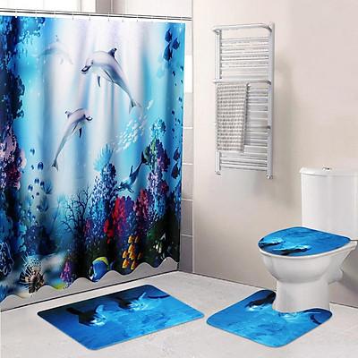 Multicolor/Set Waterproof Non-Slip Bathroom Shower Curtain + 2x Floor Mat + Toilet Cover Bath Mat Rug Polyester Mate Ocean Decoration