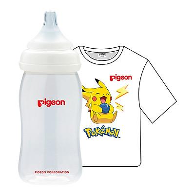 Combo Pigeon: Bình Sữa PP Plus 240ml + Áo Thun Pokemon - Trắng (Size Nhỏ)