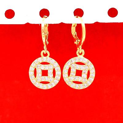 Khuyên Tai, Bông Tai, Hoa Tai Nữ Đồng Tiền Dáng Dài Xi Mạ Vàng Cao Cấp 24k - Trang Sức Hava Hong Kong - HVBT90