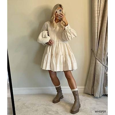 Đầm babydoll xếp ly đuôi cá napubee - váy xòe dạo phố thiết kế WHISPER DRESS