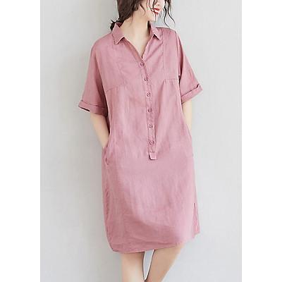 Đầm suông linen cổ đức 2 túi chéo ArcticHunter, chất liệu linen mềm mát, thời trang phong cách trẻ
