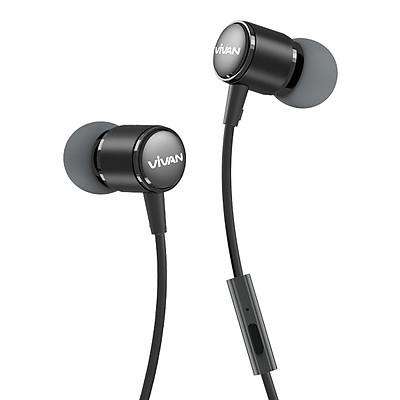 Tai nghe nhét tai có dây Jack cắm 3.5mm có Mic/Microphone Vivan | Cho iOS/Apple (iPhone/iPad), Android (Samsung, Sony, Xiaomi, Huawei, Oppo) Màu Đen/Xám - Hàng Chính Hãng