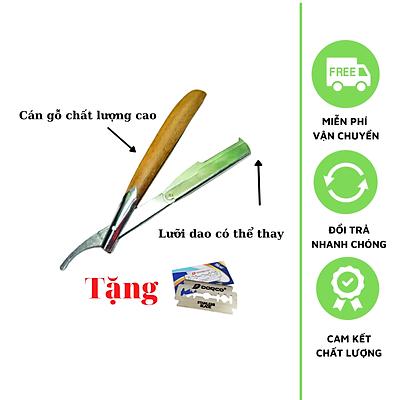 Dao Cạo Râu Tóc Mặt Tỉa Chân Mày Cán Gỗ Đa Năng Tặng Kèm 10 Lưỡi Cạo