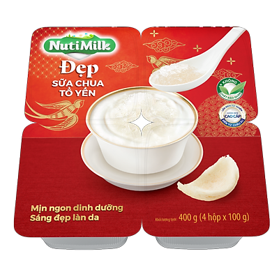 NutiMilk Đẹp - Lốc 4 Hộp Sữa chua Tổ Yến L4.SCTYTI Nutifood