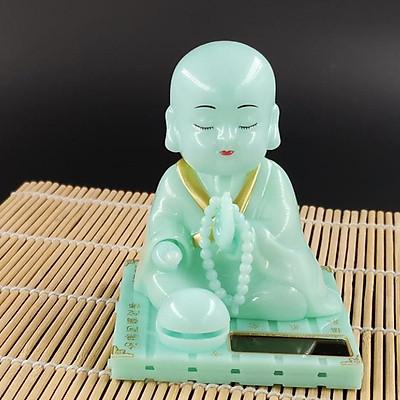 Tượng Phật Chú Tiểu Tụng Kinh Xanh Ngọc