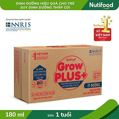 Thùng 48 Hộp Sữa Bột Pha Sẵn Growplus+ Ít Đường 180ml