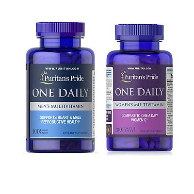 Combo 2 lọ thực phẩm chức năng bảo vệ sức khỏe Multivitamin for men (Vitamin tổng hợp hàng ngày cho đàn ông) và Multivitamin for women (Vitamin tổng hợp hàng ngày cho phụ nữ) của Puritan's Pride Mỹ