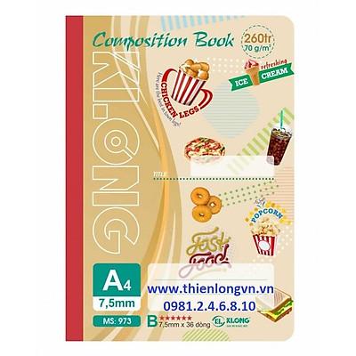 Sổ may dán gáy A4 - 260 trang; Klong 973 bìa nâu