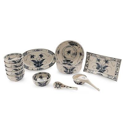 Bộ chén dĩa ( bộ bàn ăn) men rạn vẽ chuồn khoai Bát Tràng MNV-BBA02 Chuồn