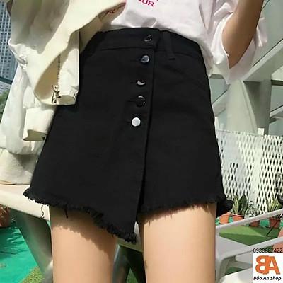 Quần giả váy phối nút kiểu chất Kaki có Size S M L dành cho nữ
