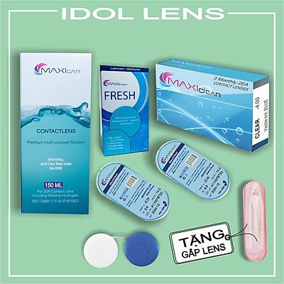 Bộ lens cận/ kính áp tròng cận không màu, dung dịch ngâm lens, dung dịch nhỏ mắt MAXI