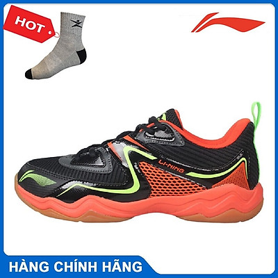 Giày cầu lông nam Lining AYTQ017-3 màu đỏ đen hàng chính hãng - Tặng kèm tất Bendu chính hãng