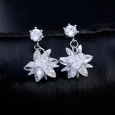 Bông tai hoa tuyết đính đá zircon