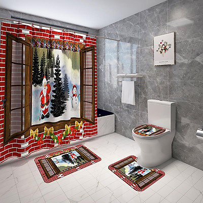 Multicolor / / 1PCS -- Waterproof Shower Curtain Christmas Theme Pattern Printing Decoration Non-slip Mats Toilet Seat Mat Bathroom Decor Set Easy to Clean Christmas