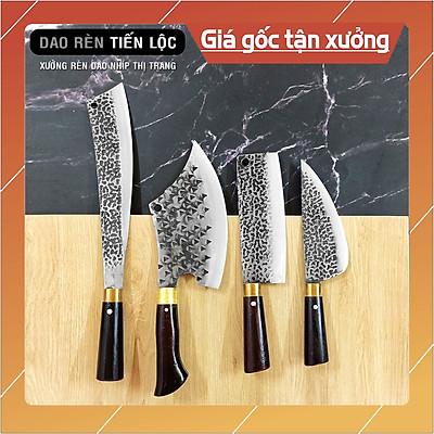 Bộ 4 Dao Thép Nhíp Dập Vân 2 Mặt Cao Cấp Dùng Cho Nhà Bếp, Chặt Cây, Chặt Xương, Thái Lọc Thịt