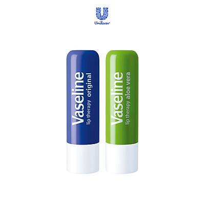 Bộ 2 son dưỡng môi Vaseline dạng thỏi 4.8g: Lô Hội và Mềm Mịn