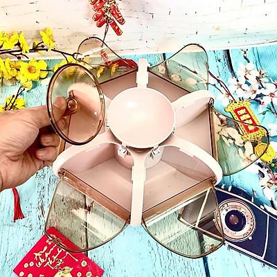 Hộp mứt Tết, Khay Đựng Mứt Xoay 6 Cánh - Nhựa Cao Cấp, Dày, Sang Trọng