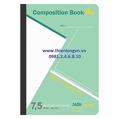 Sổ may dán gáy A4 - 360 trang; Klong 927 xanh lá