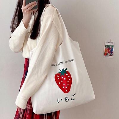 Túi tote vải canvas liền thân không khóa miệng túi đi học đi chơi phong cách free style