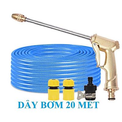 ️ Bộ dây vòi xịt nước rửa xe, tưới cây, tăng áp 3 lần, loại 20m 206701-3 đầu đồng,cút,nối nhựa đen+ mở chai