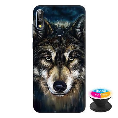 Ốp lưng điện thoại Asus Zenfone Max Pro M2 hình Chó Sói Mẫu 2 tặng kèm giá đỡ điện thoại iCase xinh xắn - Hàng chính hãng