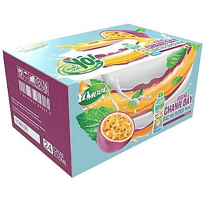 Thùng 24 chai Yomost Sữa Trái Cây Chanh Dây Bạc Hà (270ml/Chai)