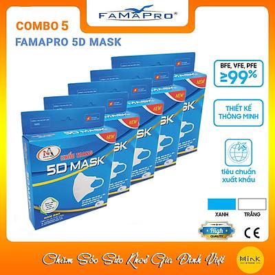 [[ Xuất Khẩu Mỹ ]] - COMBO 5 HỘP - Khẩu Trang Y Tế Cao Cấp FAMAPRO - 3 Lớp Kháng Khuẩn / 99% Lọc Khuẩn, Bụi, Virus Tốt Nhất / Người Lớn - [ CB5 - 5D - HỘP ]