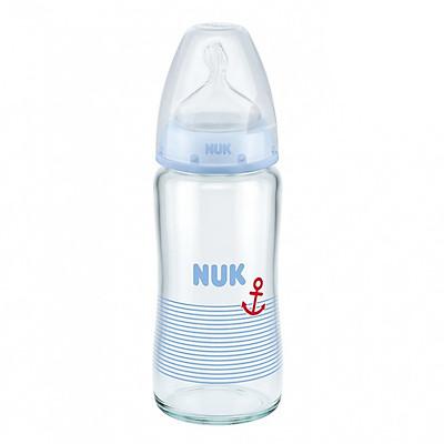Bình Sữa NUK Thủy Tinh (240ml) Núm Ti Silicone S1 (Size M) NU66128