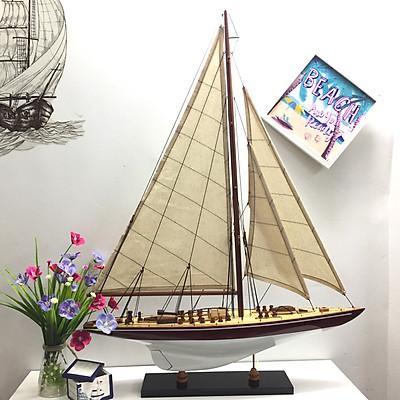 Mô hình du thuyền đua gỗ J Endeavour (thân 50cm - sơn trắng/gỗ)