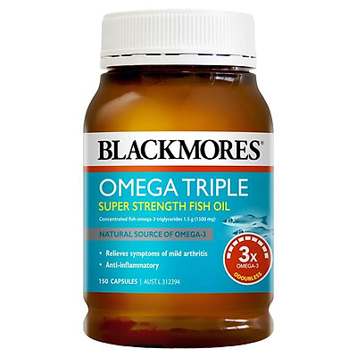 Viên uống dầu cá Blackmores Omega Triple Concentrated Fish Oil 150 Capsules
