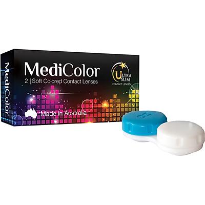 [Một cặp] Kính Áp Tròng Australia Màu Đen 0 độ Mediclear 3 Tháng - Lens Màu Đen (Black) + Khay Đựng