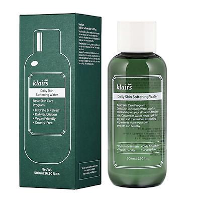 Nước Hoa hồng Tẩy Da Chết và Cấp Ẩm Klairs Daily Skin Softening Water 500ml