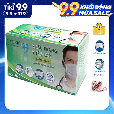 Khẩu trang y tế EXPER 3 lớp kháng khuẩn giành cho người lớn hộp 50 cái tiết kiệm. Sản phẩm khẩu trang y tế cao cấp, quai đeo tai công nghệ Nhật êm ái, ôm khít mặt và không đau tai