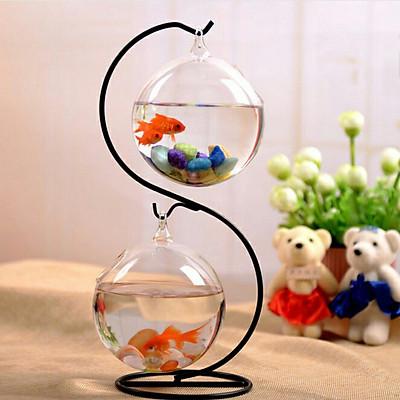 Bể cá mini chữ S 36 - 2 Bình thủy tinh đường kính 16cm