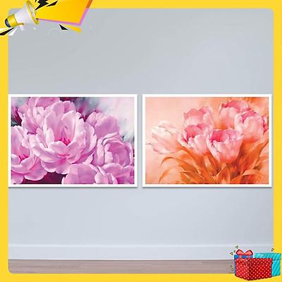 Bộ 2 tranh hoa mẫu đơn và hoa tulip W4109