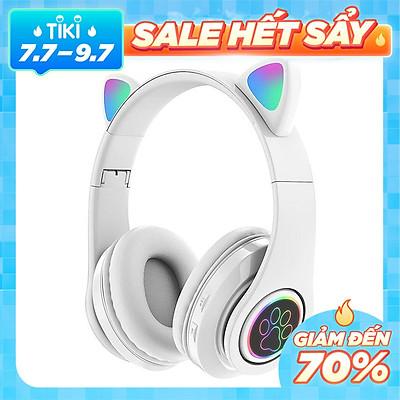 Tai Nghe Mèo Bluetooth chụp tai kết nối bluetooth 5.0, kèm dây AUX, có led nhiều màu.