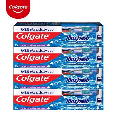 Bộ 4 Kem đánh răng Colgate bạc hà the mát Maxfresh 230g/tuýp tặng bàn chải đánh răng lông mềm
