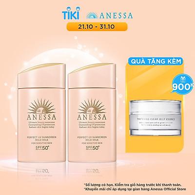Bộ đôi 2 Kem chống nắng dạng sữa dưỡng da dịu nhẹ cho da nhạy cảm & trẻ em Anessa SPF 50+ PA++++ 60ml