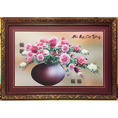 Tranh Bình Hoa Mẫu Đơn - IN156 ( in mực dầu cao cấp )