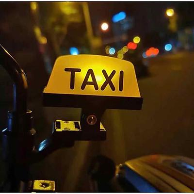ĐÈN TAXI GẮN TRANG TRÍ XE MÁY (đèn có 4 chế độ sáng, dùng pin sạc, kèm dây sạc cổng USB) Đèn LED chiếu sáng đa năng dùng cho xe máy thiết kế kiểu đèn taxi sạc USB - MTAXIS