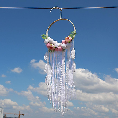 Cotton Rope Wind Chime Flower Pendant Ornament For Household Wedding Decoration