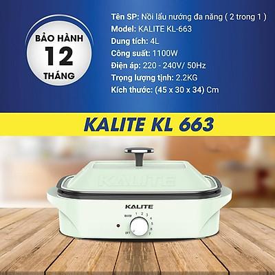 Nồi lẩu nướng đa năng Kalite KL 663, dung tích 4 lít, dễ dàng sử dụng - Hàng chính hãng