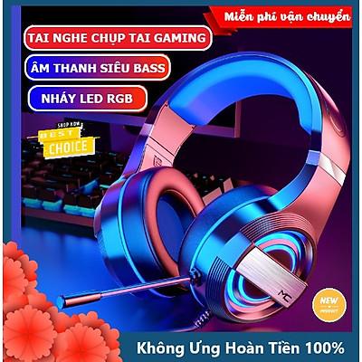 Tai nghe chụp tai máy tính XSmart GAMING MC Q9 có đèn LED đổi màu, mic đàm thoại, headphone chơi game trên laptop, pc - Hàng Chính Hãng