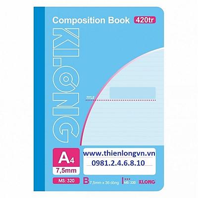 Sổ may dán gáy A4 - 420 trang; Klong 320 xanh ngọc