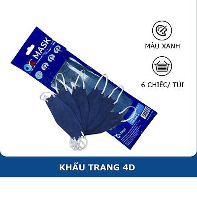 Khẩu Trang Y Tế 4D Ok Mask Màu Xanh Đậm, Theo Thiết Kế Kf94, Đạt Chuẩn Kháng Khuẩn, Công Nghệ Nhật Bản (6 Chiếc/Túi)