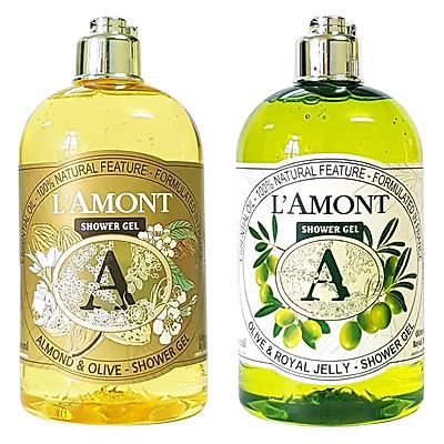 Combo Sữa Tắm L'amont En Provence Shower Gel Hương Almond + Olive (500ml / Chai)