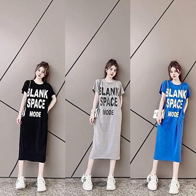 váy suông nữ in chữ blank phom rộng dáng dài