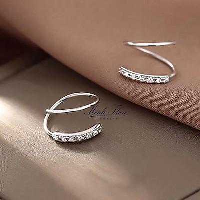 Khuyên tai nữ bạc đẹp ,bông hoa tai bạc xoắn đơn giản cá tính sáng đẹp Minh Thoa JEWELRY